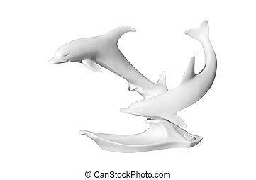 statue of dolphins on a white background