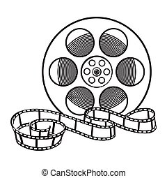 Classical motion picture, cinema film reel, sketch style vector illustration