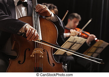 Classical music, cellist and violinists - Symphony concert,...