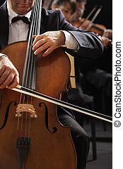 Classical music, cellist and violinists - Symphony concert, ...