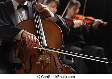 Classical music, cellist and violinists