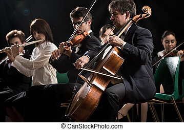 Symphony orchestra on stage, violins, cello and flute performing.