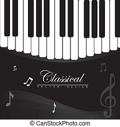 classical music over piano background vector illustration