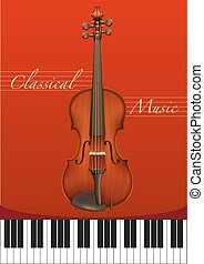 Classical music poster with violin and piano