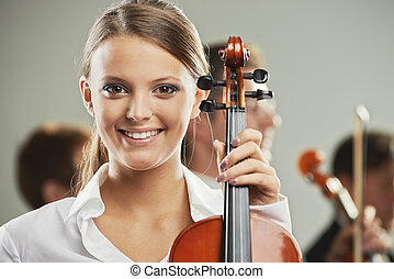 Classical music, woman portrait