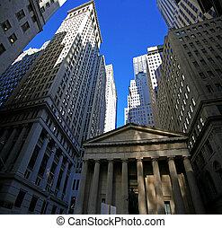 classical New York - Wall street, skyscrapers in Manhattan