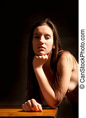 Classical nude of a beautiful young woman