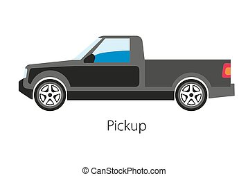 Classical pickup car with cargo tray not integrated with...