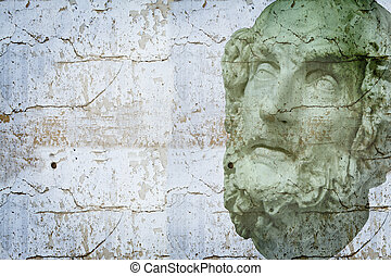 Classical sculpture with textures, White greek bust of S?crates