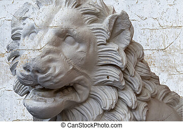 Classical sculpture with textures, White greek lion
