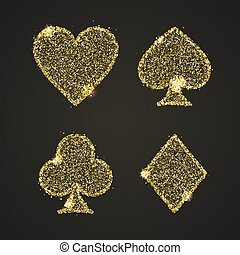 Classical Suit of playing cards. Illustration with golden glitter, shining dust. Vector icons. Concept for casino, poster, banner, leaflet. Symbols of poker game isolated on black background.