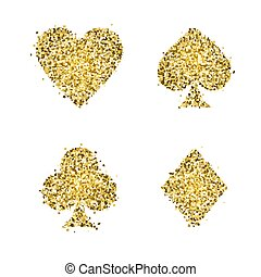 Classical Suit of playing cards. Illustration with golden glitter. Vector icons. Symbols isolated on white background.