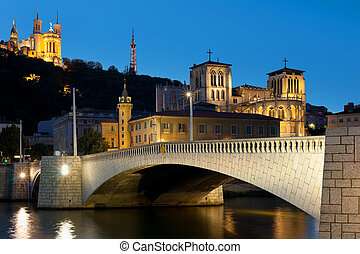 Lyon over the Saone river at night