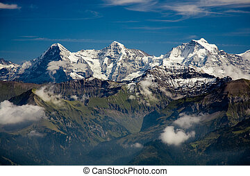 Classical view of the Eiger, Moench and Jungfrau.