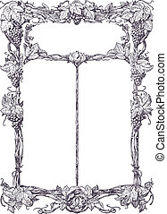 Classical vine border - Old time ornamental frame with...