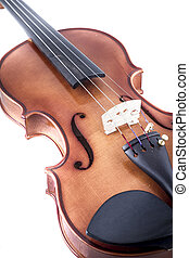 Classical, Violin front view isolated on white, vintage