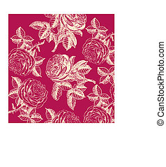 Classical wall-paper with a flower pattern. Fragment