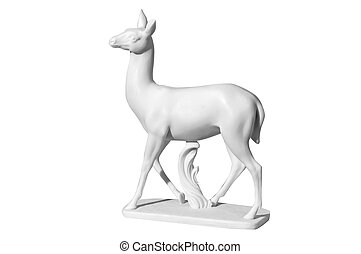 statue of a deer on a white background