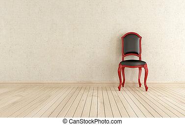 classici, przeciw, czarnoskóry, ściana, krzesło, czerwony