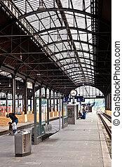 classicistic,  station, intérieur,  train, fer