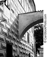 classico, architetto, arco, in, nero bianco
