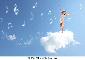 classico, ballerino, sopra, uno, nuvola