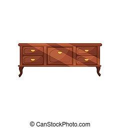 classico, cassettiera, con, dorato, handles., vendemmia, furniture., anticaglia, commode, per, bedroom., appartamento, vettore, disegno