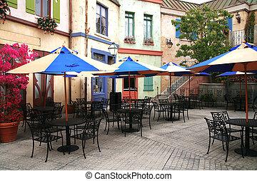 classico, europeo, strada, caffè