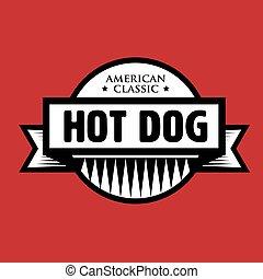 classico, francobollo, vendemmia, -, cane, caldo, americano