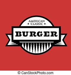 classico, francobollo, vendemmia, -, hamburger, americano