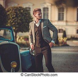 classico, giovane, fiducioso, ricco, giornale, convertibile, uomo