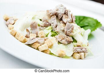 classico, insalata caesar, piastra, servito