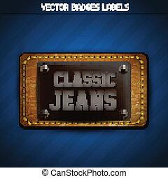 classico, jeans, etichetta