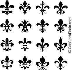 classico, lys de fleur, simbolo, set