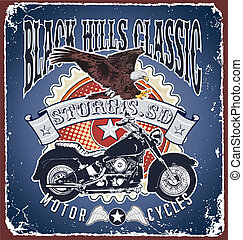 classico, motocicletta, colline nere