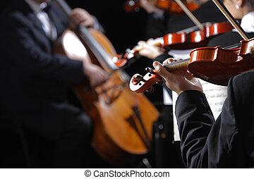 classico, music., violinisti, in, concerto
