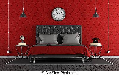 classico, nero rosso, camera letto