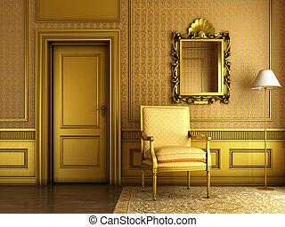 classico, palazzo, interno, con, poltrona, specchio, e, dorato, modanatura