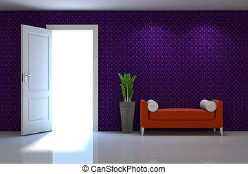 classico, parete, scena, divano, interno, bianco rosso, 3d
