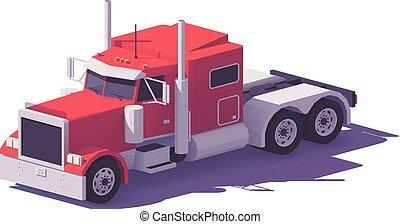 classico, poly, americano, vettore, camion, basso