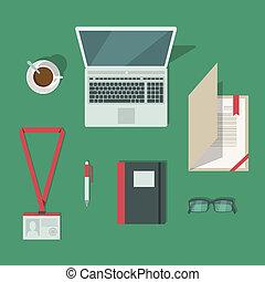 classico, posto lavoro, scrivania ufficio