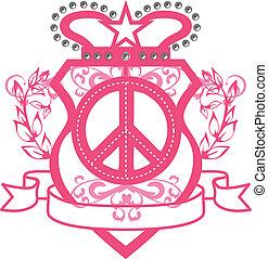 classico, ragazza, pace, emblema