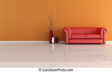 classico, rosso, divano