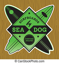 classico, surf, logotipo, disegno