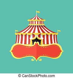 classico, tenda circus, con, bandiera