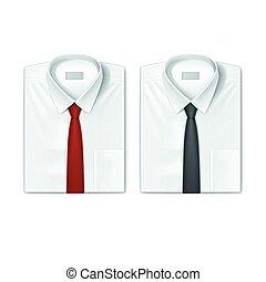 classico, uomini, camicie, set, con, rosso, e, nero,...