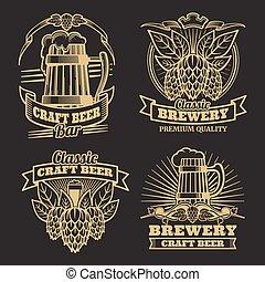 classico, vendemmia, etichette, birra, mestiere, sfondo nero