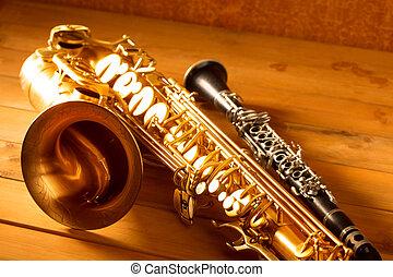classico, vendemmia, sax, sassofono, tenore, musica, clarinetto