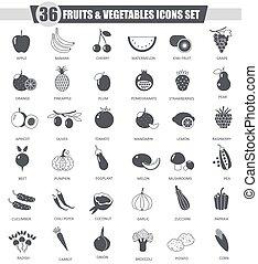 classico, verdura, web., grigio, scuro, vettore, nero, frutte, disegno, set., icona