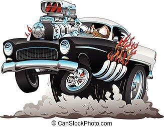 classieke, amerikaan, jaren '50, stijl, hete staaf, grappige auto, spotprent, met, groot, motor, vlammen, smoking, tires, het knallen, een, wheelie, vector, illustratie